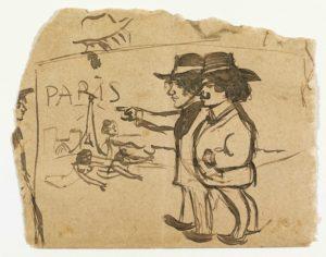 ARXIU MUSEU PICASSO | Dibuix de Picasso sota el títol Contemplant la Torre Eiffel