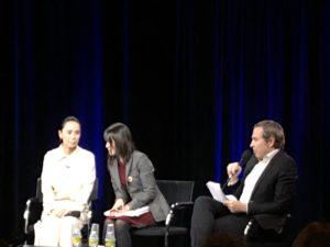 VICENÇ BATALLA | Naomi Kawase en su clase magistral en el Centro Pompidou con la traductora y el conductor Olivier Père