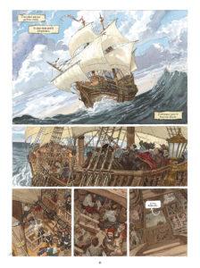 ARCHIVO | La plancha con la que se abre <em>El Buscón en las Indias</em>, con Pablo de Segovia embarcado hacia las Américas