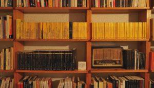 ARCHIVO | La biblioteca personal de Rafael Vallbona, con la colección La Cua de Palla arriba (en amarillo) y la colección Crims.cat abajo (en negro y franja amarilla)