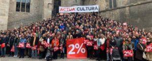 ARXIU | Acció el 9 de març passat a la plaça del Rei de Barcelona de la plataforma Actua Cultura per reivindicar un 2% als pressupostos de la Generalitat