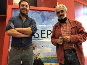 VICENÇ BATALLA | Aurel, le réalisateur de <em>Josep</em>, et Georges Bartolí, neveu de l'artiste catalan, dans la présentation du film à Perpignan