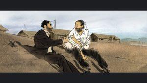 ARCHIVE | Photogramme de <em>Josep,</em> avec Helios Gómez et Bartolí dans un camp d'internement à la plage qui ont fui pour son travail avec des affiches républicains à Barcelone