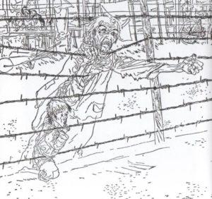 JOSEP BARTOLÍ | Un autre des dessins publiés dans le livre sur les camps de concentration pour les républicains espagnols en France