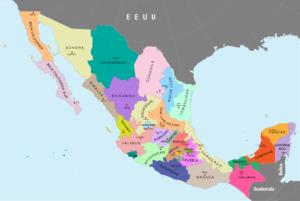 ARXIU | Els 32 Estats mexicans, amb Guerrero al sud-oest en color lila