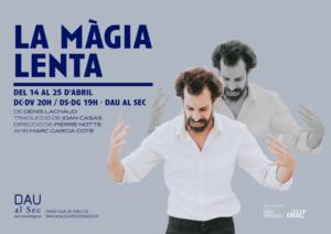 ARCHIVO | El cartel de <em>La màgia lenta</em>, durante su estreno en la sala barcelonesa Dau al Sec a finales de abril pasado