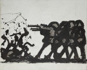COL·LECCIÓ JOËLLE LEMMENS/JORDI CANYAMERES   Quadre sense data que Josep Bartolí va titular com a <em>Bum Bum</em>, i que recorda la sèrie <em>Els afusellaments del 3 de Maig</em> de Goya