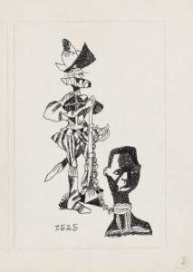 COL·LECCIÓ MEMORIAL DEL CAMP DE RIBESALTES   Dibuix de la sèrie <em>Calibán</em>, exposat a la sala Juan Martín de la capital mexicana durant els JJ.OO. del 1968 i que el 1971 es convertiria en llibre