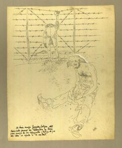 ARXIUS MUNICIPALS DE BARCELONA   Dibuix d'un dels camps d'internament al sud de França per als republicans exiliats de la Guerra Civil i que es publicaria al llibre Campos de concentración 1939-194...