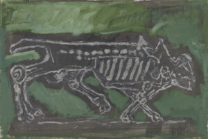 COL·LECCIÓ MEMORIAL DEL CAMP DE RIBESALTES/JORDI CANYAMERES   Quadre de la sèrie <em>La fam</em>, del 1990, on Josep Bartolí recrea un llop esquelètic fent eco als seus dibuixos de personatges famèliques als camps d'internament del 1939