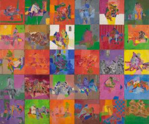 COL.LECCIÓ FAMÍLIA CANYAMERES SANAHUJA/JORDI CANYAMERES   Pintura, com a una mena d'auca, <em>Motel amb 30 habitacions</em>, que Josep Bartolí va exposar a l'hotel Camino del Real de Ciutat de Mèxic el 1970