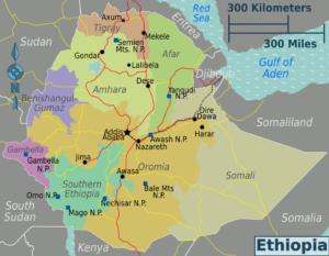 WIKIVOYAGE | El mapa de regions a Etiòpia, amb les principals ciutats